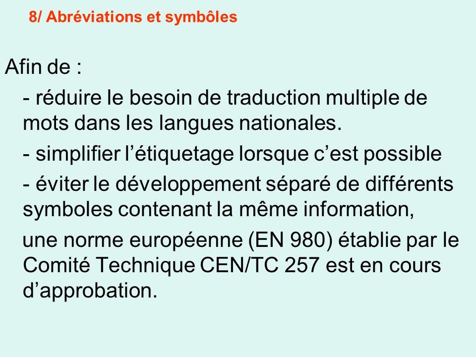 8/ Abréviations et symbôles