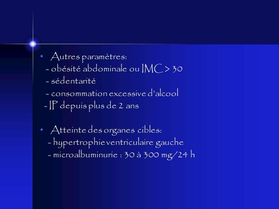 Autres paramètres: - obésité abdominale ou IMC > 30. - sédentarité. - consommation excessive d'alcool.