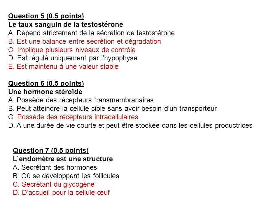Question 5 (0.5 points) Le taux sanguin de la testostérone. A. Dépend strictement de la sécrétion de testostérone.