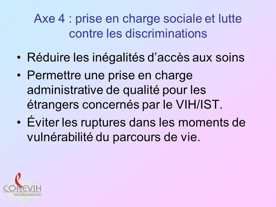 Axe 4 : prise en charge sociale et lutte contre les discriminations
