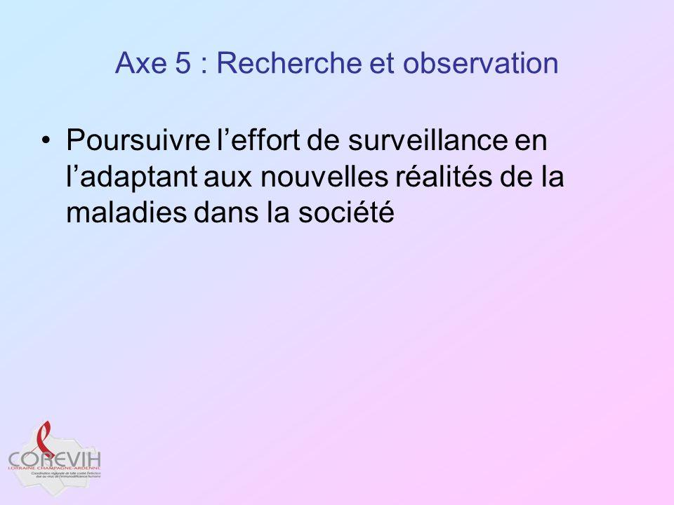 Axe 5 : Recherche et observation