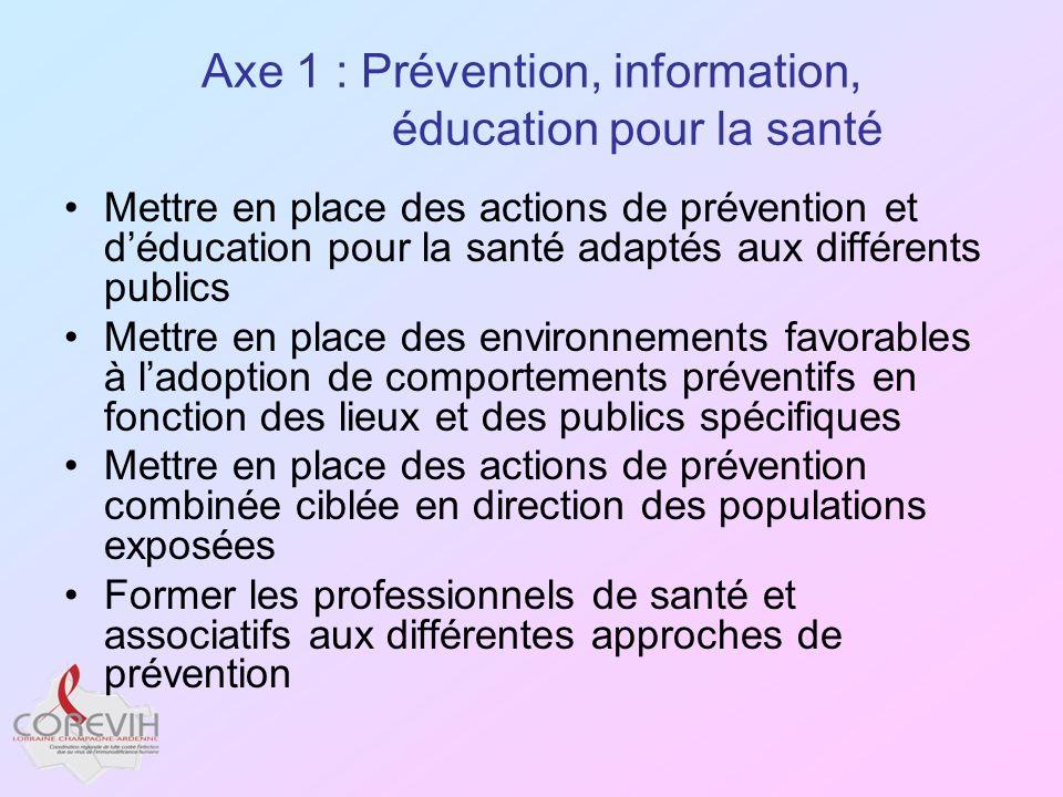 Axe 1 : Prévention, information, éducation pour la santé