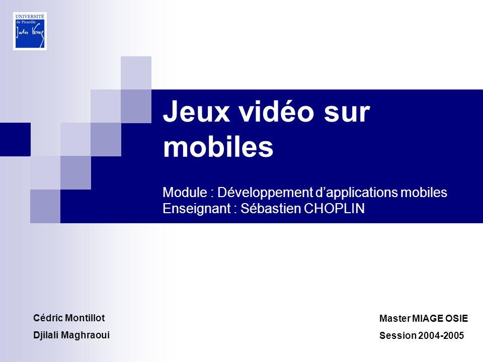 Jeux vidéo sur mobiles Module : Développement d'applications mobiles Enseignant : Sébastien CHOPLIN
