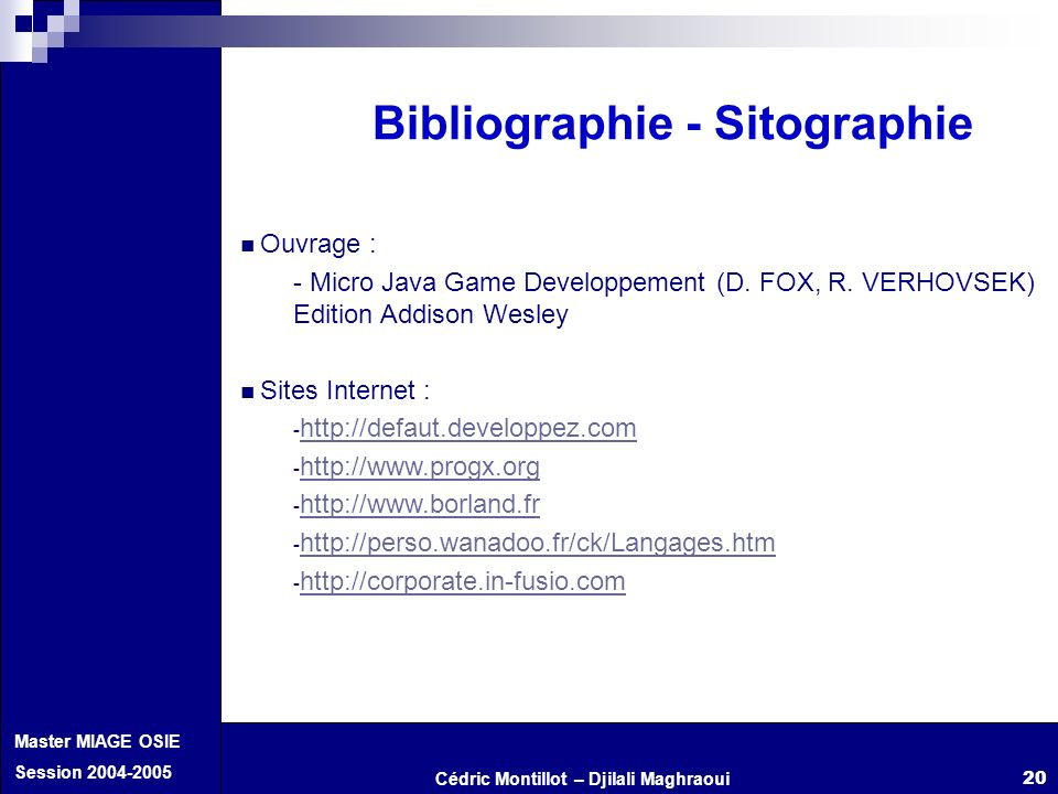 Bibliographie - Sitographie