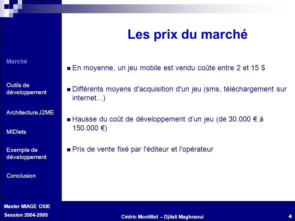 Les prix du marché Marché. Outils de développement. Architecture J2ME. Exemple de développement.
