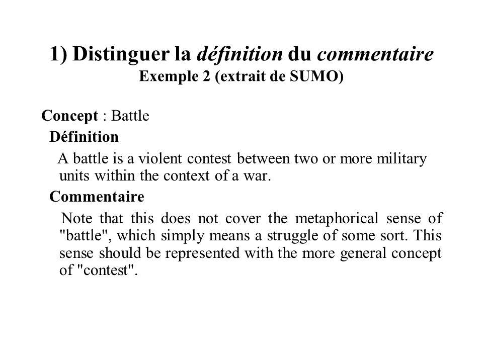 1) Distinguer la définition du commentaire Exemple 2 (extrait de SUMO)