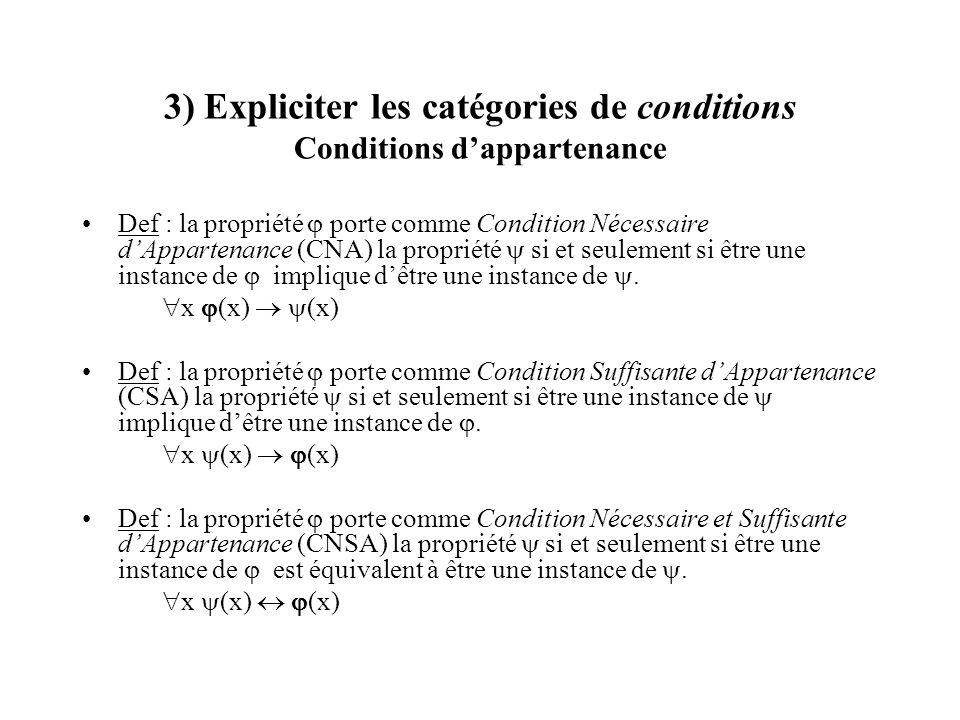 3) Expliciter les catégories de conditions Conditions d'appartenance