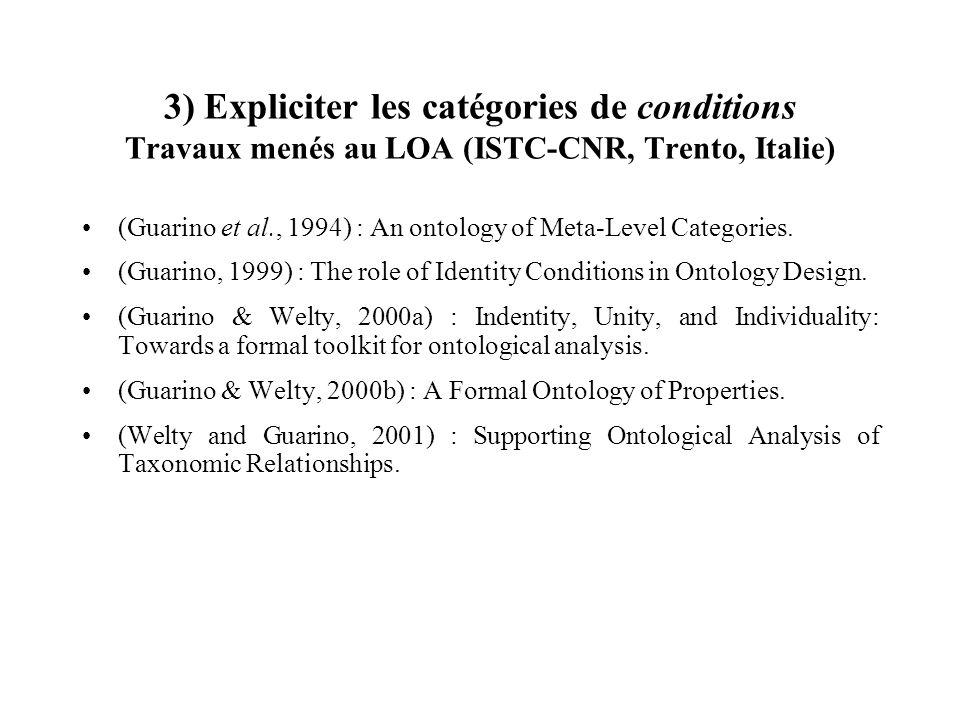3) Expliciter les catégories de conditions Travaux menés au LOA (ISTC-CNR, Trento, Italie)