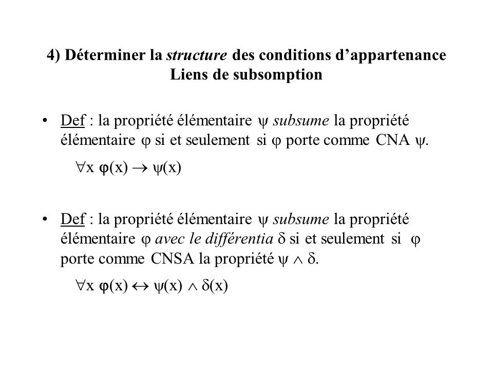 4) Déterminer la structure des conditions d'appartenance Liens de subsomption