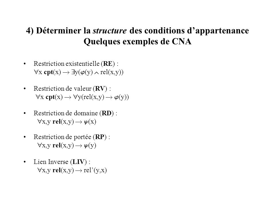 4) Déterminer la structure des conditions d'appartenance Quelques exemples de CNA