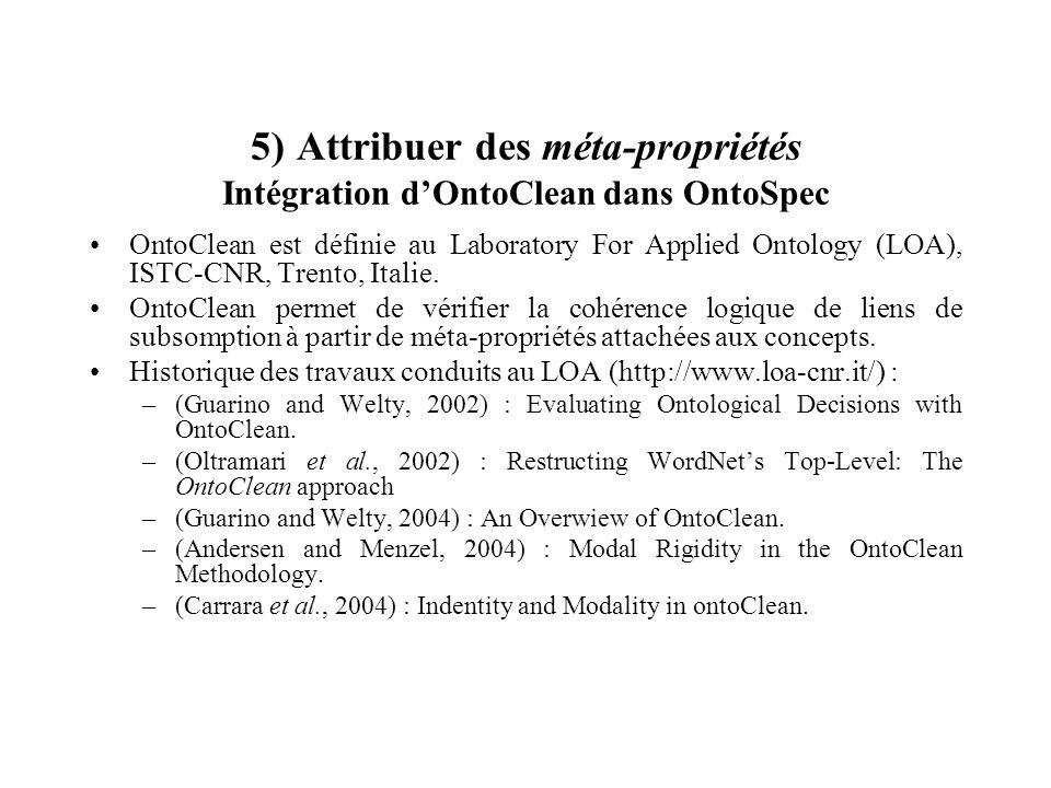 5) Attribuer des méta-propriétés Intégration d'OntoClean dans OntoSpec