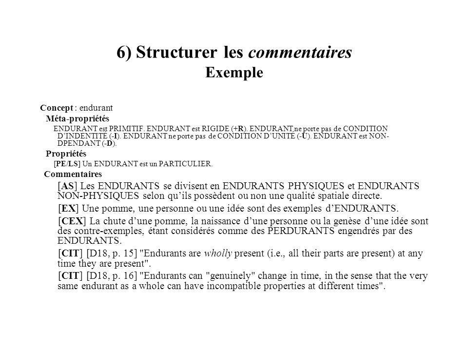 6) Structurer les commentaires Exemple