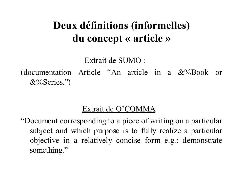 Deux définitions (informelles) du concept « article »