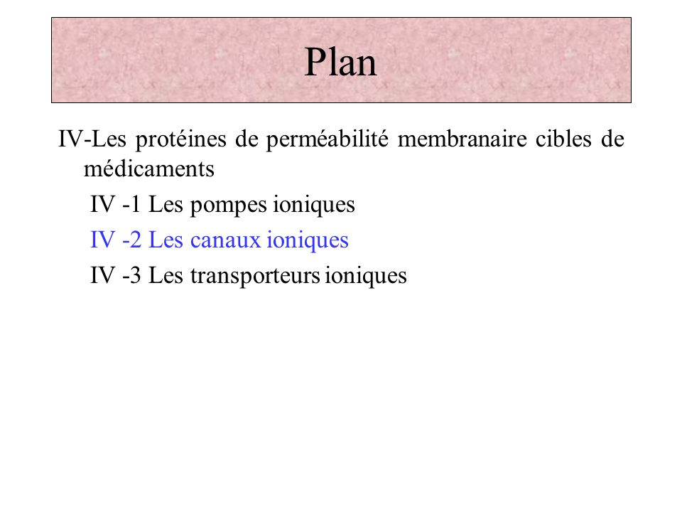 Plan IV-Les protéines de perméabilité membranaire cibles de médicaments. IV -1 Les pompes ioniques.