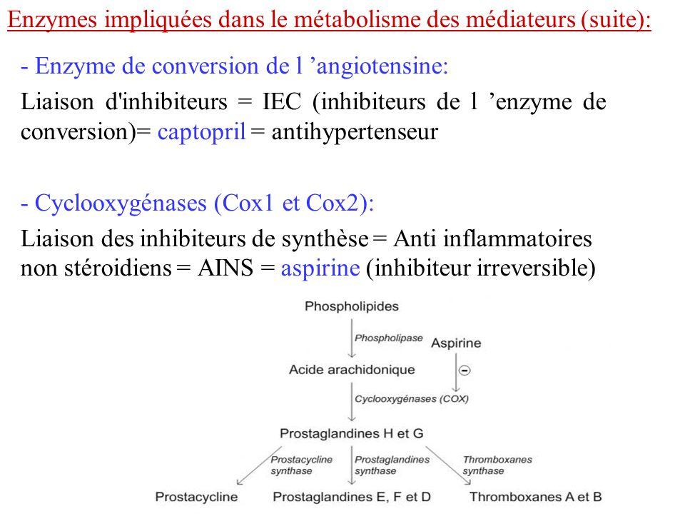 Enzymes impliquées dans le métabolisme des médiateurs (suite):