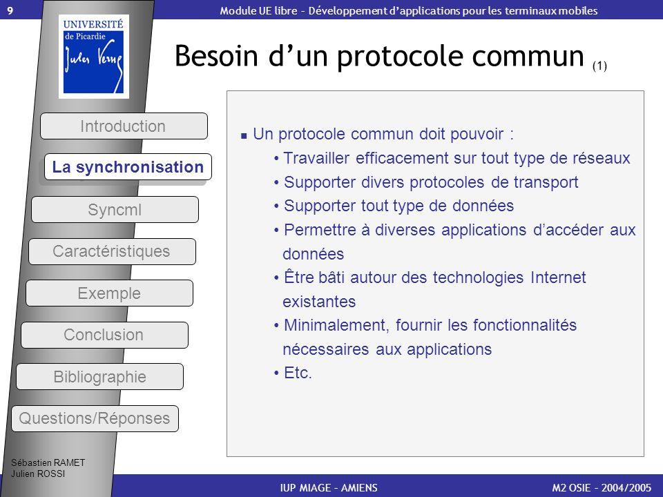 Besoin d'un protocole commun (1)