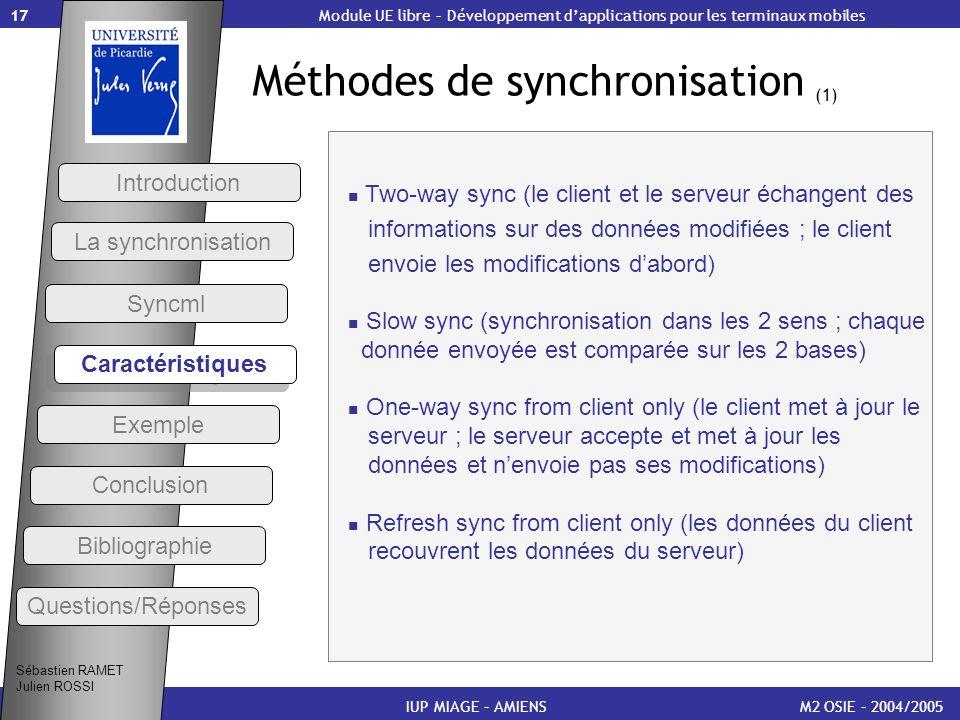 Méthodes de synchronisation (1)
