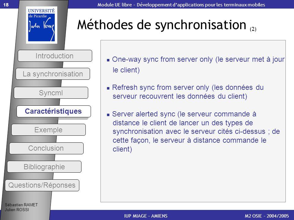 Méthodes de synchronisation (2)