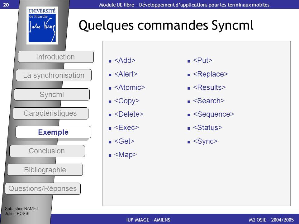 Quelques commandes Syncml