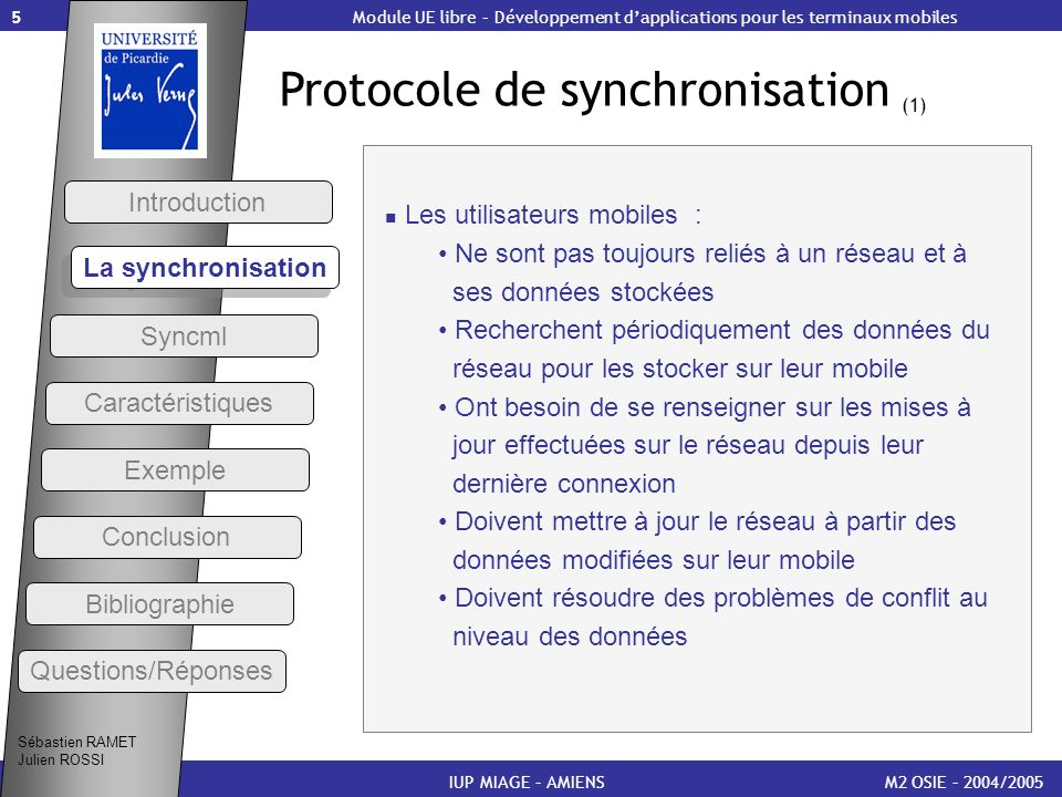 Protocole de synchronisation (1)
