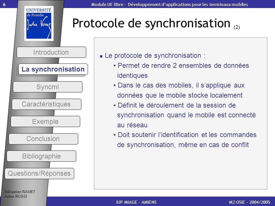 Protocole de synchronisation (2)