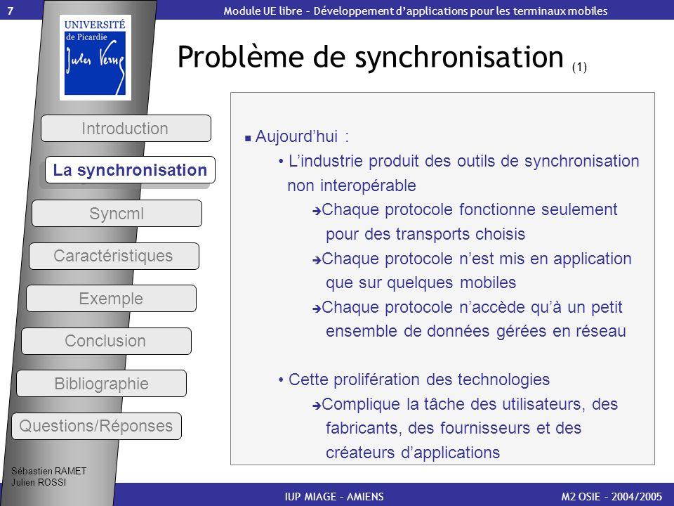 Problème de synchronisation (1)