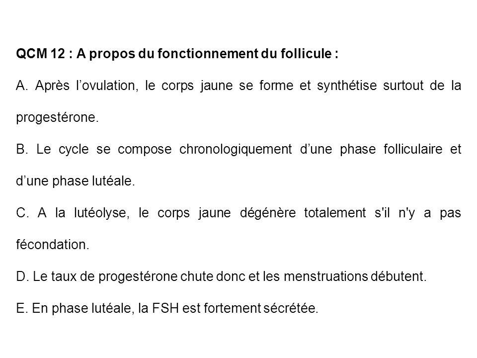 QCM 12 : A propos du fonctionnement du follicule :