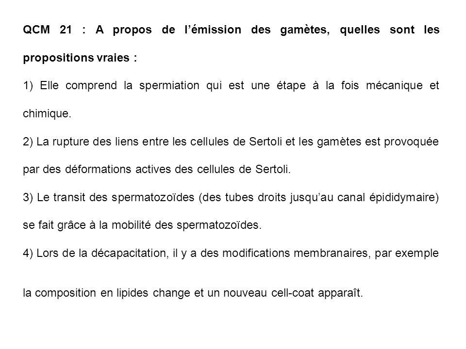 QCM 21 : A propos de l'émission des gamètes, quelles sont les propositions vraies :
