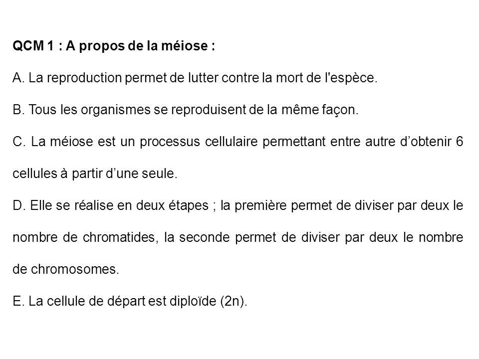 QCM 1 : A propos de la méiose :