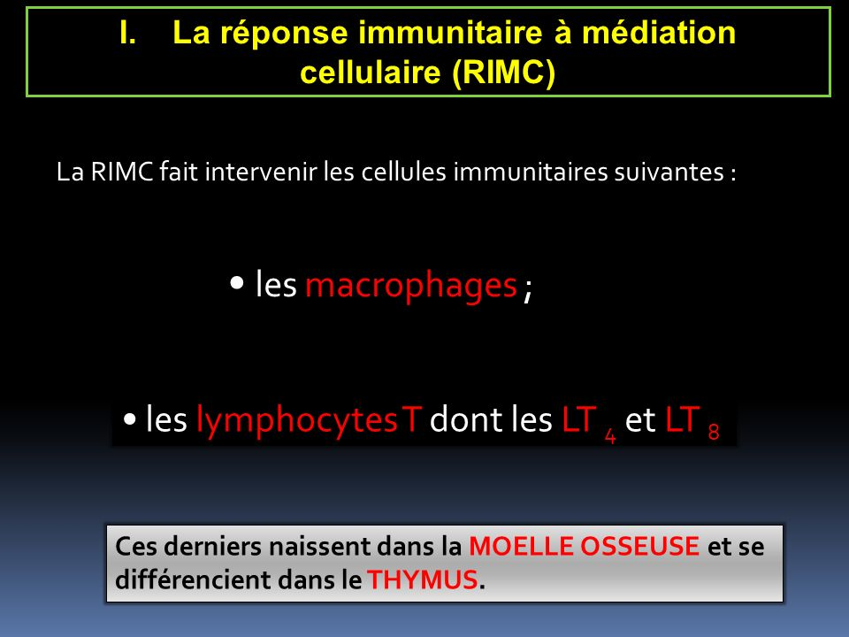 La réponse immunitaire à médiation