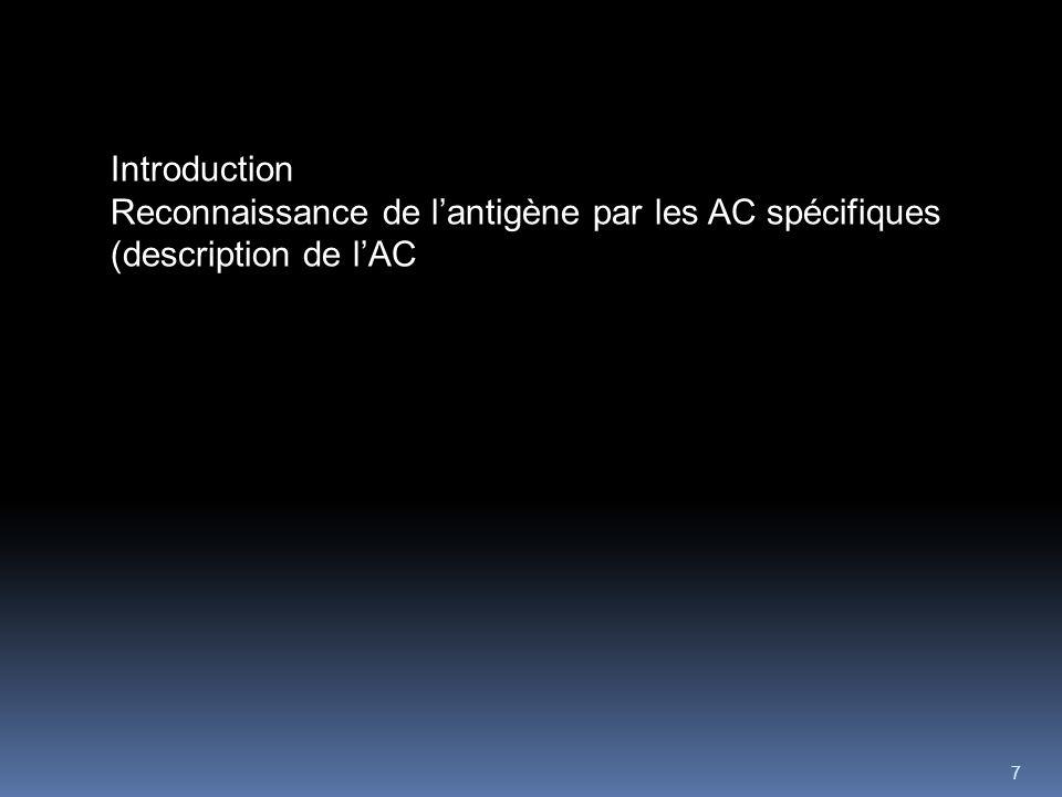Introduction Reconnaissance de l'antigène par les AC spécifiques (description de l'AC