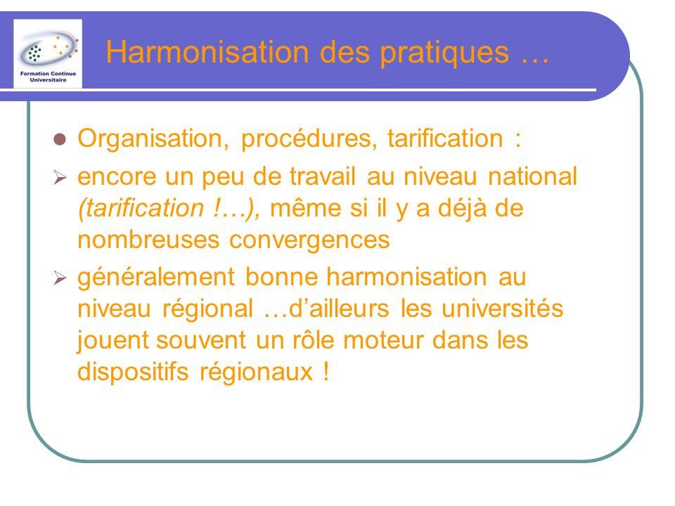 Harmonisation des pratiques …