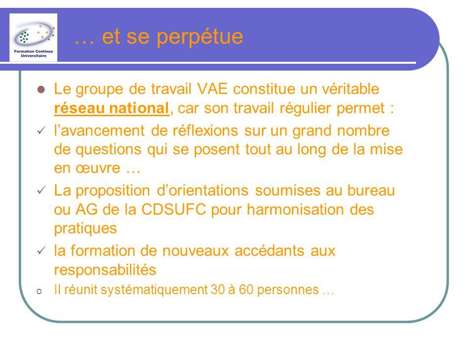 … et se perpétue Le groupe de travail VAE constitue un véritable réseau national, car son travail régulier permet :