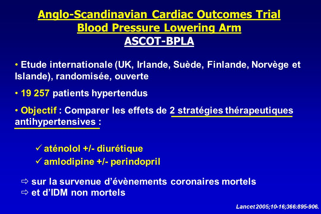 Anglo-Scandinavian Cardiac Outcomes Trial Blood Pressure Lowering Arm ASCOT-BPLA