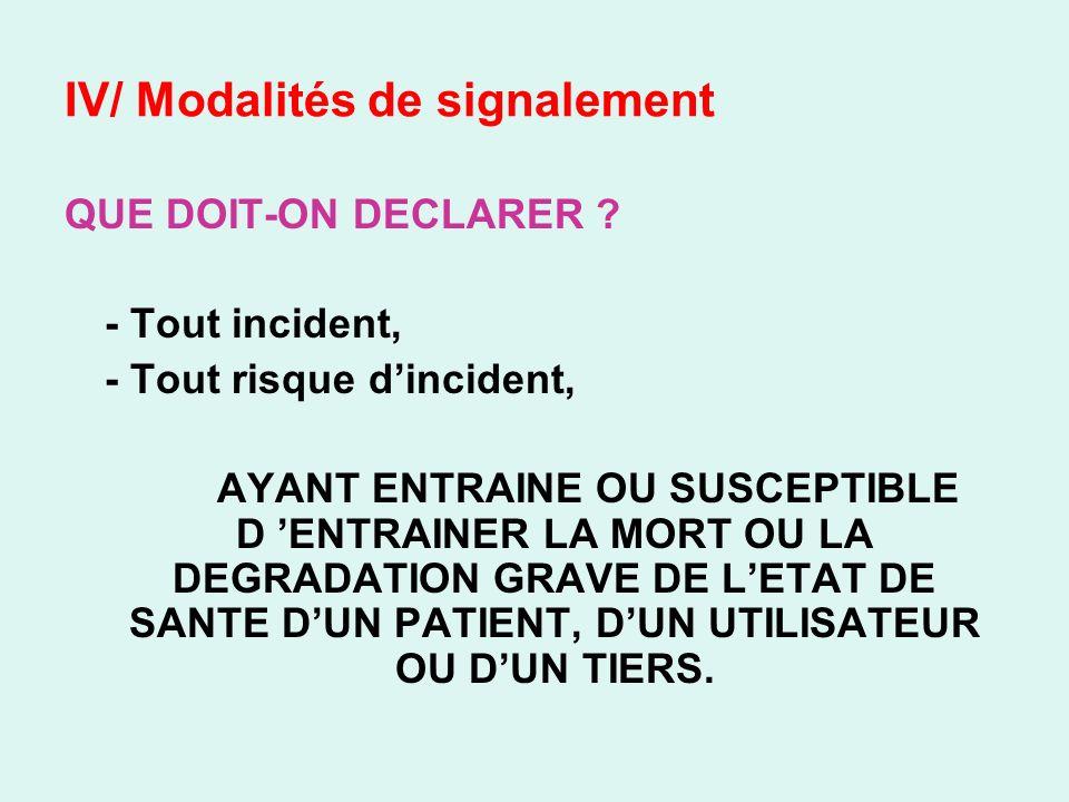 IV/ Modalités de signalement