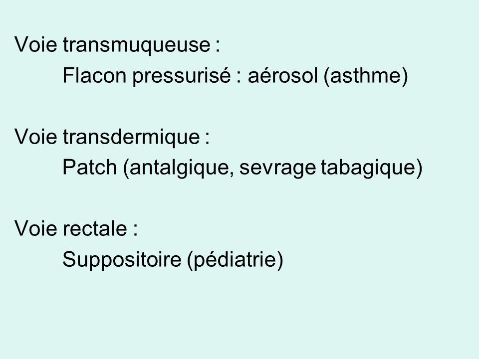 Voie transmuqueuse : Flacon pressurisé : aérosol (asthme) Voie transdermique : Patch (antalgique, sevrage tabagique)