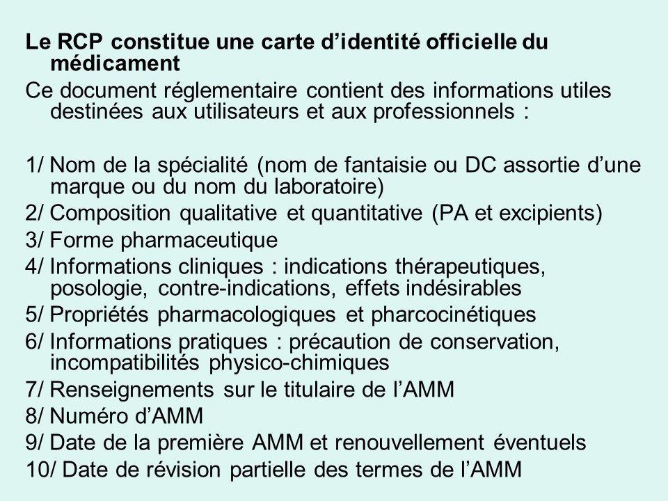 Le RCP constitue une carte d'identité officielle du médicament