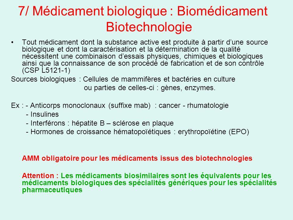 7/ Médicament biologique : Biomédicament Biotechnologie