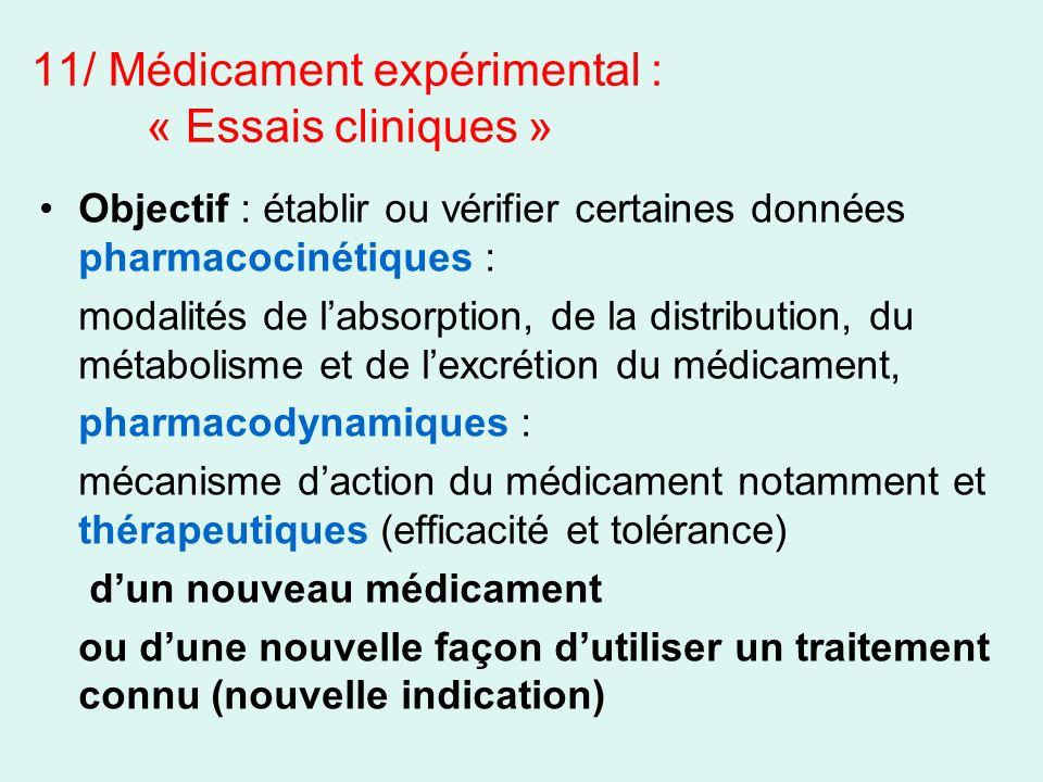 11/ Médicament expérimental : « Essais cliniques »