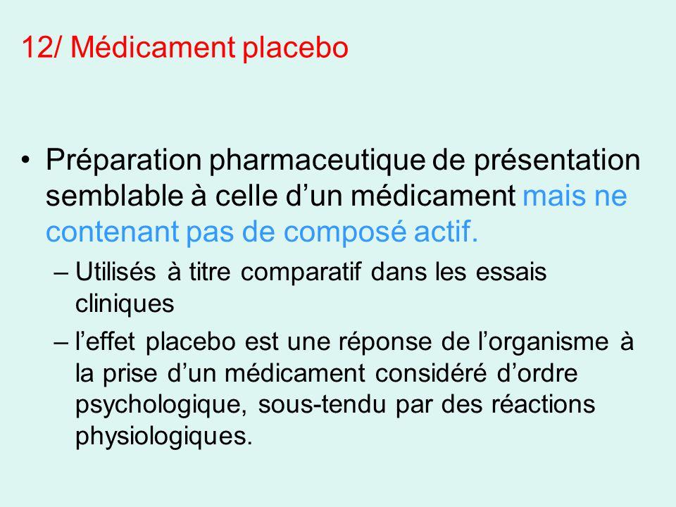 12/ Médicament placebo Préparation pharmaceutique de présentation semblable à celle d'un médicament mais ne contenant pas de composé actif.
