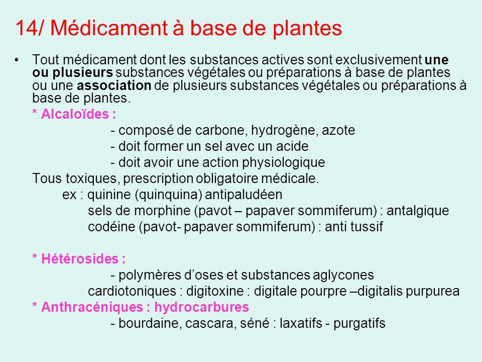14/ Médicament à base de plantes