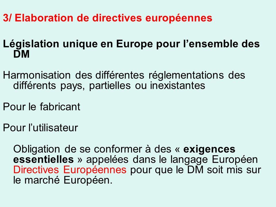 3/ Elaboration de directives européennes