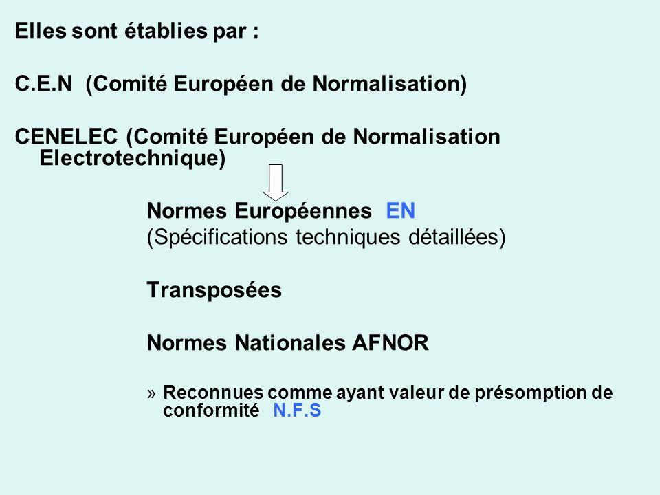 Elles sont établies par : C.E.N (Comité Européen de Normalisation)