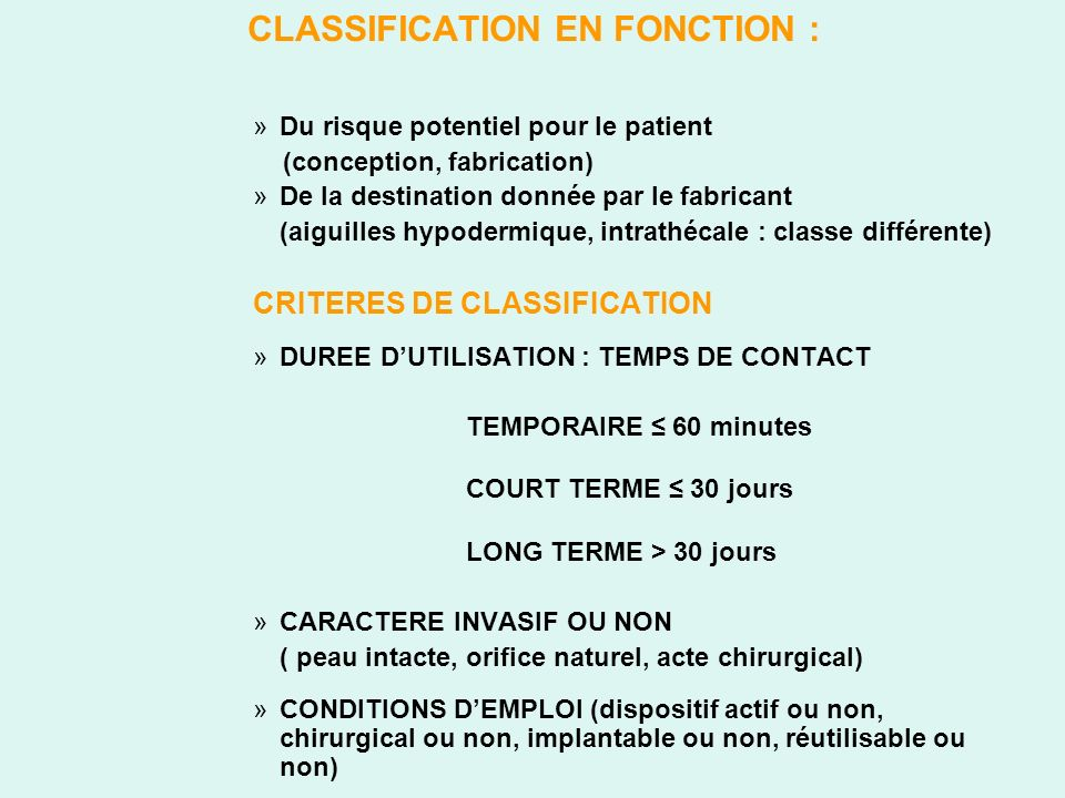 CLASSIFICATION EN FONCTION :