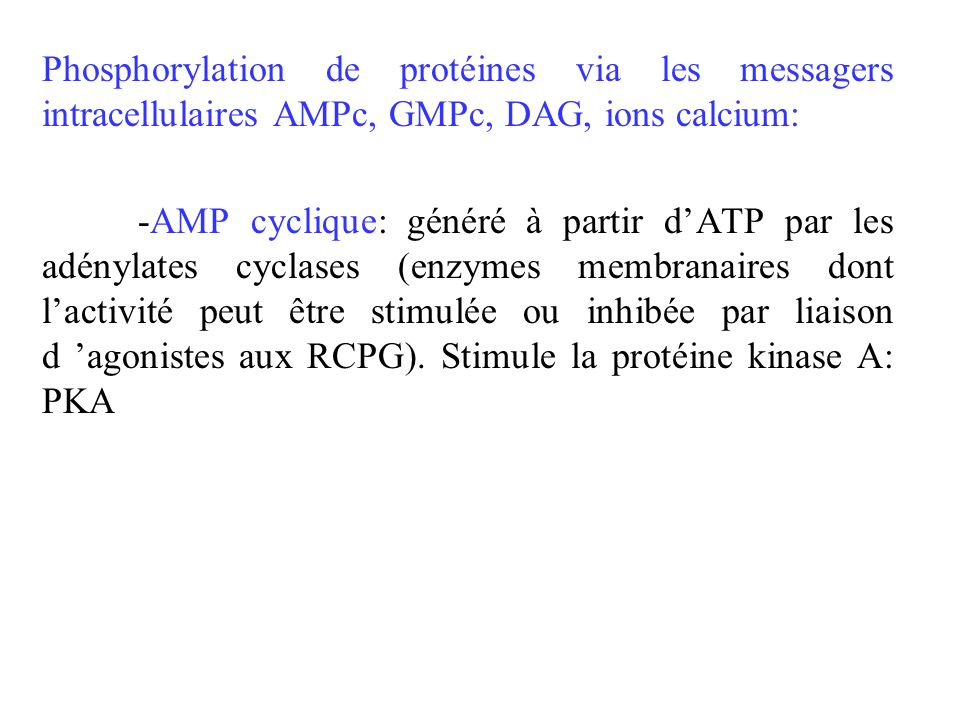 Phosphorylation de protéines via les messagers intracellulaires AMPc, GMPc, DAG, ions calcium: