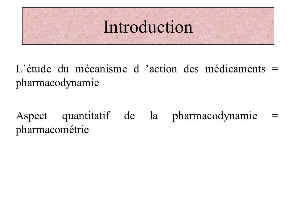 Introduction L'étude du mécanisme d 'action des médicaments = pharmacodynamie. Aspect quantitatif de la pharmacodynamie = pharmacométrie.