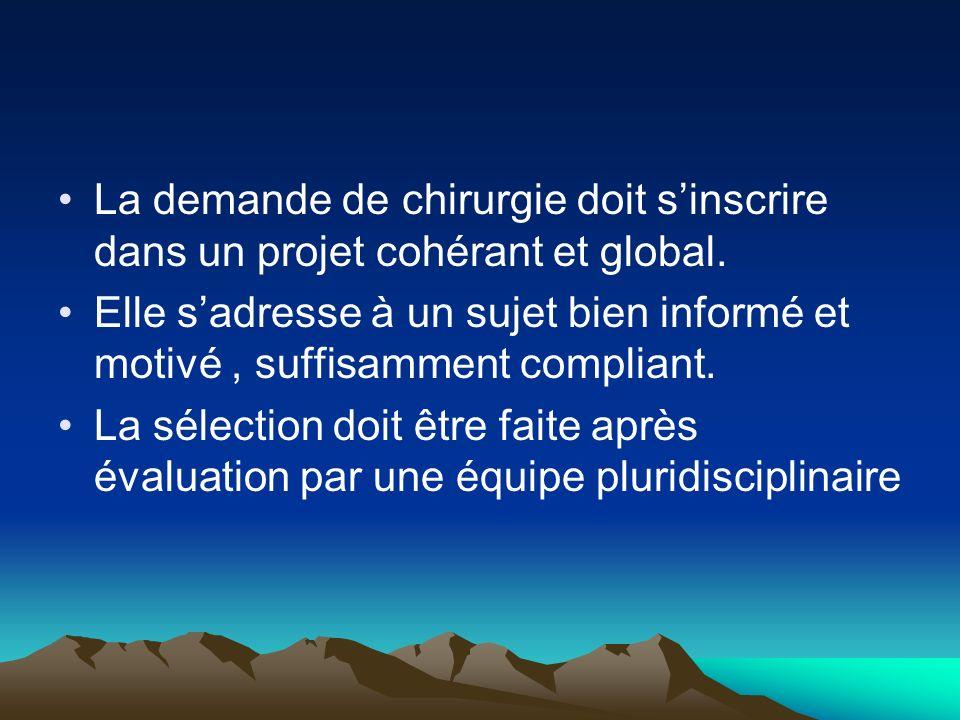 La demande de chirurgie doit s'inscrire dans un projet cohérant et global.