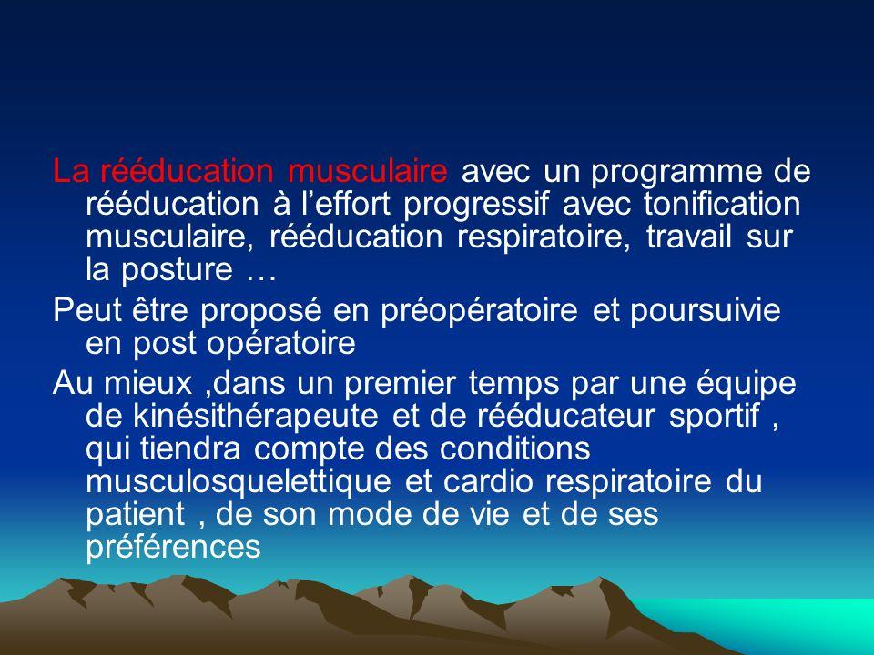 La rééducation musculaire avec un programme de rééducation à l'effort progressif avec tonification musculaire, rééducation respiratoire, travail sur la posture …