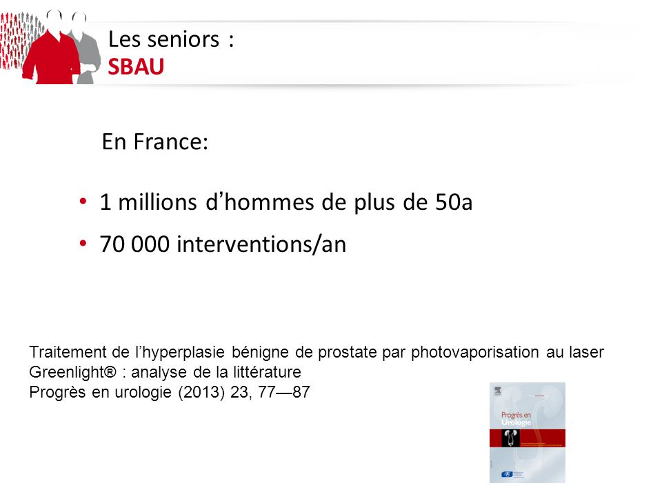 1 millions d'hommes de plus de 50a 70 000 interventions/an