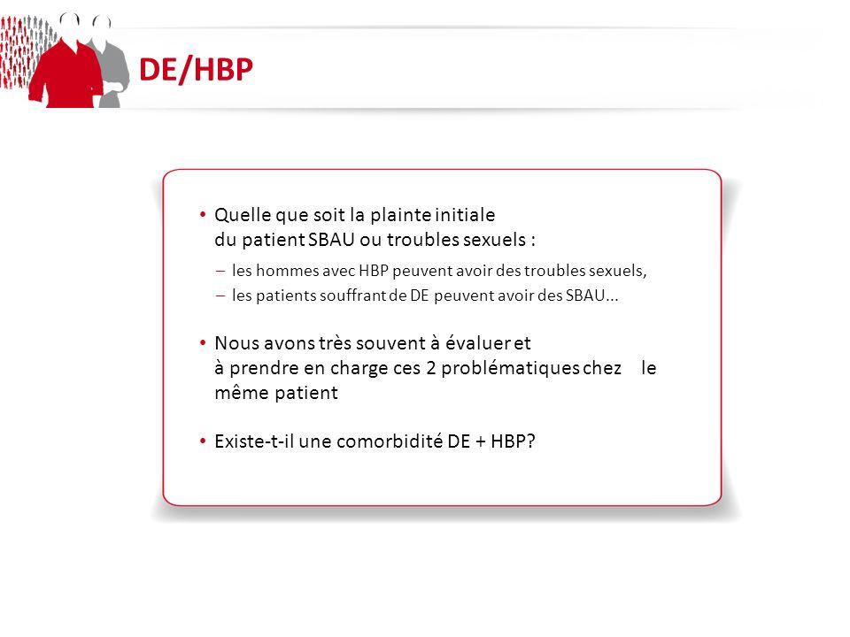 DE/HBP Quelle que soit la plainte initiale du patient SBAU ou troubles sexuels : les hommes avec HBP peuvent avoir des troubles sexuels,